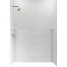 Swanstone 36D x 62W x 96H Subway Tile Shower Wall Kit - White