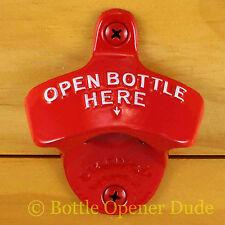 Red OPEN BOTTLE HERE Starr X Wall Mount Bottle Opener - Powder Coated - NEW!