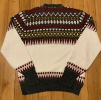S-M VTG 1960s PURITAN Aztec SWEATER Red Gray Mens 60s 70s Pullover Sweater