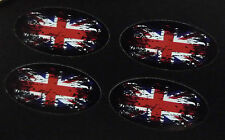 UNION JACK Flag Fade to Black Oval Car Bike Stickers 50mm Set of 4 Great Britain