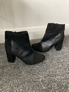 Brand New Peacocks Black Chunky Ankle Boots Shoes Size 6 (39)