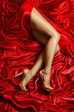 BEAUTIFUL EROTIC SEXY LEGS RED SILK SHEETS CANVAS PICTURE #105 ADULT GLAMOUR A1