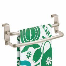 mDesign Metal Kitchen Over Cabinet Double Towel Bar Rack - Satin