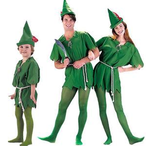Peter Pan Robin Costume Halloween Party  Hood Green Elf Dress up Unisex Adult