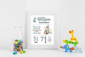 Personalised Baby Nursery Decor Wall Art Print, Birth Announcement Printed A4