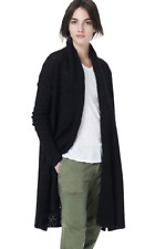 James Perse Women's Merino Wool Boucle Long Open-Front Black Cardigan – XS (0)