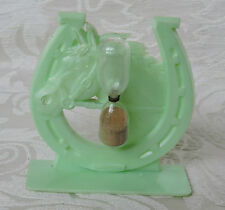 Vintage Rare Hourglass Timer Egg Green Plastic Horseshoe Shaped and Horsehead