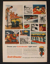1956 Scott-Atwater Outboard Boat Gas Motor Water Skiing Snap~off Hoods Trade AD
