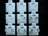 .925 Sterling Silver Round Cut Clear Cubic Zirconia Stud Earrings New