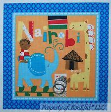 BonEful Fabric Cotton Quilt Block Square Kid Giraffe Dot Elephant Nairobi Africa
