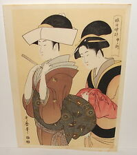 KITAGAWA UTAMARO TWO JAPANESE WOMEN WOODBLOCK SIGNED
