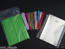 "GREEN CAKE POP KIT 6"" PLASTIC LOLLIPOP STICKS 4X6"" CELLO BAGS METALLIC TIES X 50"