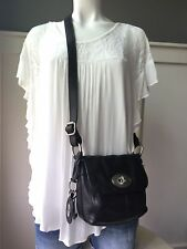 "FOSSIL MADDOX Small Black Genuine Leather Turnlock Crossbody Shoulder Bag  8""x7"""