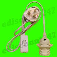 CE CERTIFIED ES E27 Edison Screw Lamp Holder (WHITE) 3 Pin Light Plug UK SELLER.