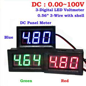 DC 0-100V 3 Digital LED Panel Volt Meter Voltage Voltmeter 12V~96V Car Battery