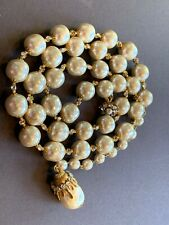 "Sign Miriam Haskell Huge Baroque Pearls Rhinestone Necklace Jewelry 38"" Long"
