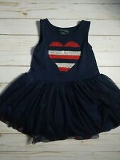 Cynthia Rowley Girls 24M Dress Tutu Heart Sequined Patriotic Red Blue