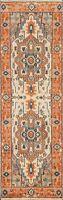 "Ivory Heriz Serapi Geometric Oriental Runner Rug Hand-knotted Wool 2' 6""x7' 10"""