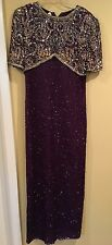 Beaded Formal Gown*Petite Small*Lawrence Kazar *Purple & Gold Dress