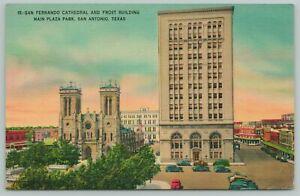 San Antonio Texas~San Fernando Cathedral~1940s Linen Postcard