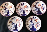 GAUDY WELSH 5 Saucers /side plate OYSTER PATTERN Smoking Indian COBALT 5.5 x1