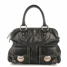MARC JACOBS Women's Large Black Calfskin Leather Blake Satchel Hand Bag Italy