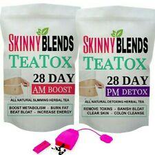 SKINNY BLENDS 28 Day Teatox AM & PM DETOX WEIGHT LOSS TEA. FREE TEA INFUSER!!