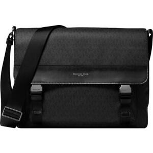 Michael Kors Mens Jet Set Black Faux Leather Trim Messenger Bag O/S BHFO 8372