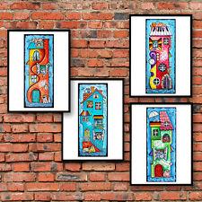 ♥♫♥ DEKO Bild ♥Katze Haus Musik Tiere ♥Set 4 ♥Poster A4 Kunstdruck ♥e41-42-50-52