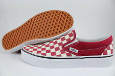 VANS CLASSIC SLIP-ON CHECKERBOARD RUMBA RED/WHITE BURGUNDY MAROON CHECKER ADULT