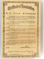 Vintage 1950's B-D Yale Syringes Certificate of Examination Paper Rutherford NJ