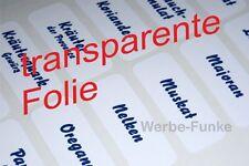 66 transparente Gewürzetiketten, Etiketten, Gewürze, Aufkleber,