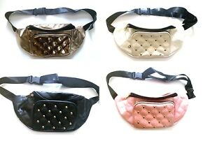 US stock fashion multicolor studded  quilted pu belted waist pouch fanny pack