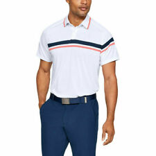 Nwt Under Armour Men's Large Tour Tips Drive Golf Polo Shirt White Msrp: $75