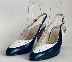 Salvatore Ferragamo Blue & White Leather Sling Back High Heel Shoe UK 4.5 AA