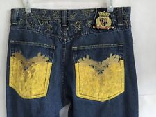 Crown Holder Denim Jeans Embroidery Baggy Loose HipHop Dance Pants 36 Button Fly