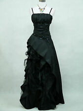 Cherlone Satin Black Sparkle Long Ball Gown Wedding/Evening Dress Size UK 12-14