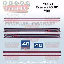1989-91 Evinrude 40 HP VRO Outboard Reproduction 10 Piece Marine Vinyl Decals