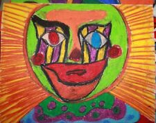 1960's Summer of Love Psychedelic abstract Clown mask Nightmare in colors