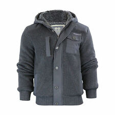 Mens Hooded Cardigan Crosshatch Charnock Heavy Knitted Hoodie Jacket With Fleece Charcoal Marl Small