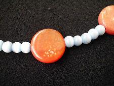 Modeschmuck Halskette Feuerachat orange, Cat-eye blau Handarbeit Unikat Perlen
