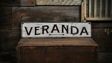 Primitive Veranda Sign - Rustic Hand Made Distressed Wooden