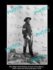 OLD HISTORIC PHOTO, PINE RIDGE SOUTH DAKOTA, SIOUX INDIAN POLICE FAST HORSE 1890