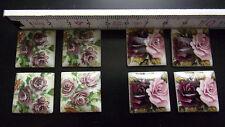 8 Cabochon Steine Brosche 4 eckig 21x21 Rosen Retro Vintage Schmuckherstellung