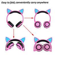 Foldable Cat Ear LED Lights Headphones Earphone Gaming Flashing Headset Gift