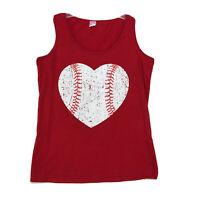 Baseball Heart Tank Top Shirt Womens Size M Medium Red Sleeveless Cotton LAT