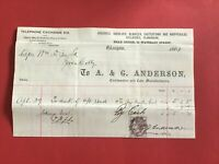 A & G Anderson Coalmasters Coke Manufacturers 1884 Glasgow  receipt R33513