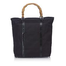 Gucci Black Nylon Leather Bamboo Tote Bag