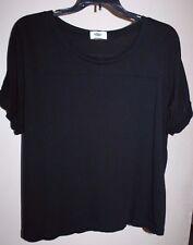 OLD NAVY M/L Black Cuffed Cap Sleeve Loose Knit Lightweight Trendy Top