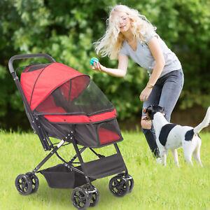 New ListingKariyer Folding Pet Stroller Small Dogs Cats Travel Cage Storage Basket Jogger